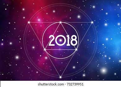 Cosmic Astrological New Year 2018 Greeting Card or Calendar Cover with Interlocking Geometry Shapes Art and Golden Ratio Digits on Space Background.