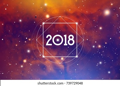 Cosmic Astrological New Year 2018 Greeting Card or Calendar Cover with Interlocking Geometry Shapes on Space Background.