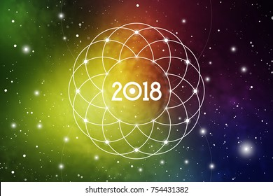 Cosmic Astrological New Year 2018 Greeting Card or Calendar Cover with Sacred Geometry Flower of Life Art and Golden Ratio Digits on Space Background.