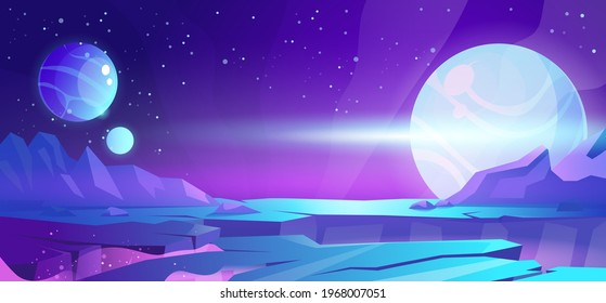 Cosmic background, alien planet deserted landscape with mountains, rocks, deep cleft and stars shine in space. Extraterrestrial computer game backdrop, parallax effect cartoon vector illustration