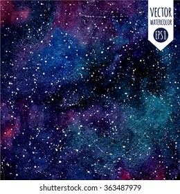 Cosmic background. Colorful vector watercolor galaxy or night sky with stars. Hand drawn cosmos illustration with blobs texture.  Black, emerald, violet watercolour stains. Stars are removable.