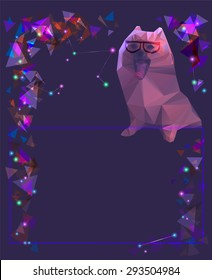 cosmic dog. triangular texture for your card design