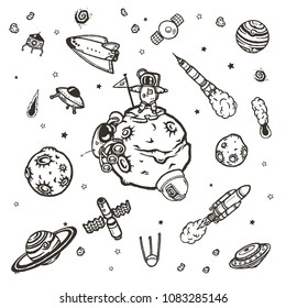 Cosmic doodles vector concept. Hand drawn space illustrations.