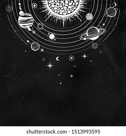 Cosmic drawing: stylized Solar system, orbits, planets, space structure. Place for the text.  Background - black star sky. Vector illustration. Print, poster, T-shirt, card.