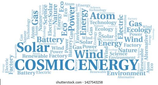 Cosmic Energy word cloud. Wordcloud made with text only.