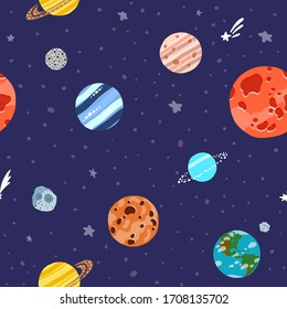 Cosmic fabric for kids. Cute design for kids fabric and wrapping paper. Solar system planets repeated tile. Bright childish tile. Hand drawn funny cosmic fabric.