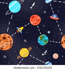 Cosmic fabric for kids. Space exploration concept. Cute design for kids fabric and wrapping paper. Bright childish tile. Hand drawn funny cosmic fabric.