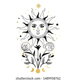 Cosmic flower with the sun and planets. Vector hand drawn illustration in boho style