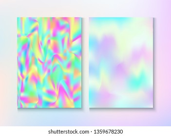 Cosmic Foil, Metal Cover, Vector Magazine Texture. Holographic Gradient Overlay. Energy Illustration. Dreamy Pearlescent Cover, Blank Paper, Teal. Foil, Metal Magazine Cover Background.