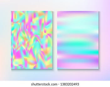 Cosmic Foil, Metal Cover, Vector Magazine Texture. Dreamy Pearlescent Cover, Blank Paper, Teal. Tender Wallpaper. Holographic Gradient Overlay. Foil, Metal Magazine Cover Background.