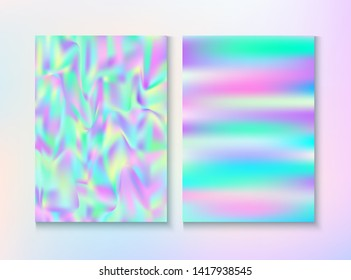 Cosmic Foil, Metal Cover, Vector Magazine Texture. Unicorn Pearlescent Cover, Blank Paper, Teal. Laser Template. Hologram Gradient Overlay. Foil, Metal Magazine Cover Background.