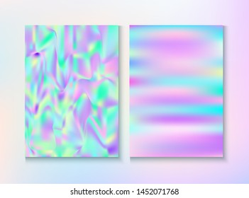 Cosmic Foil, Metal Cover, Vector Magazine Texture. Graphic Certificate. Holographic Gradient Overlay. Fairy Iridescent Cover, Blank Paper, Teal. Foil, Metal Magazine Cover Background.