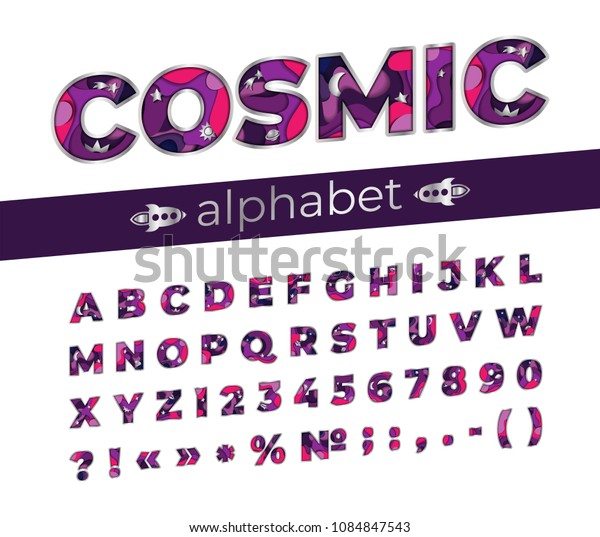 Cosmic font in realistic paper cut style for title, header, lettering, poster, banner. Uppercase regular display letters, numbers, punctuation. Colorful multi layers 3D effect. Vector illustration.