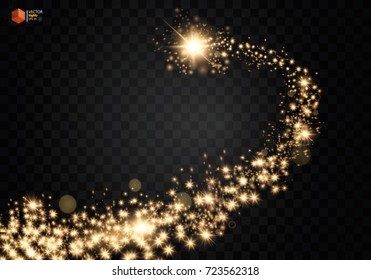 Cosmic glittering wave. Gold glittering stars dust trail sparkling particles on transparent background. Space comet tail. EPS 10 vector