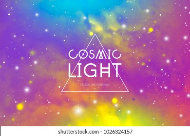 Cosmic light outer space colorful vector background with copy space.