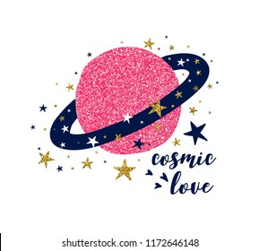 Cosmic love slogan and space illustration vector.