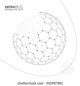 Cosmic science concept with hexagonal grid vector spheres