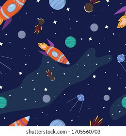 Cosmic seamless pattern in cartoon style. Space, planets, rocket and stars. Cosmos and universe background. Vector for textile, print, fabric, nursery.