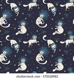 Cosmic seamless pattern, cute doodle white cat-astronauts floating in space, vector illustration