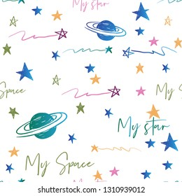 Cosmic seamless pattern with doodle stars, Saturn planets, my space text. Hand drawn colorful line seamless pattern on white blue background. Doodling scribble ornament background.