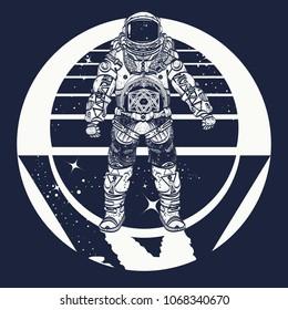 Cosmonaut in deep space triangular style and t-shirt design, art. Astronaut tattoo