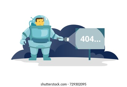 Cosmonaut with flashlight in space signboard 404 error. cute Illustration for error page 404 not found
