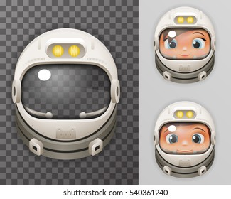 Cosmonaut Helmet Realistic 3d Astronaut Spaceman Boy Girl Tantamareska Poster Transperent Glass Background Icon Template Mock Up Design Vector Illustration