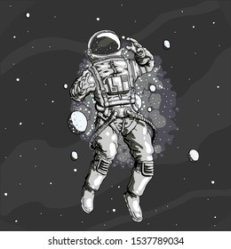 Cosmonaut lost in the space vector desing