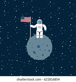 Cosmonaut on the moon with american flag icon, vector graphics