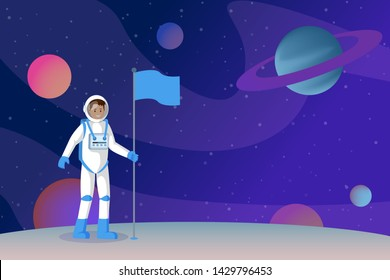 Cosmonaut setting flag flat vector illustration. Smiling astronaut in outer space, spaceman standing on alien planet surface cartoon character. Moon landing, interstellar traveling drawing