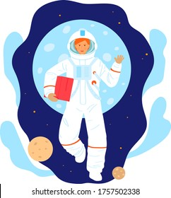 Cosmonaut space research woman character, female astronaut occupation professional researcher isolated on white, cartoon vector illustration. Girl fly open cosmos area, orbit planet earth.