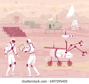 Cosmonaut in Suit Mars Colony Cosmic Base Building with Rover, Antenna. Red Planet Landscape Vector Illustration. Colonization Terraforming Concept. Moon Station. Space Exploration