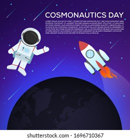 cosmonautics day planet astronauts outer space banner