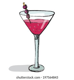 Cosmopolitan cocktail in the glass. Vector illustration, hand-drawn style.