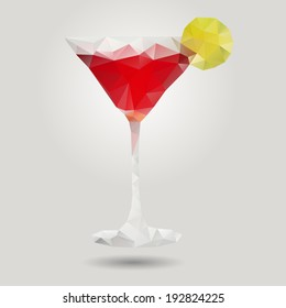 Cosmopolitan cocktail in origami style. Isolated