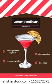 Cosmopolitan cocktail recipe with ingredients. Hand drawn illustration in sketch style. Vector collection.
