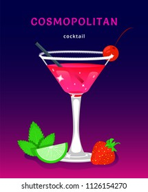 cosmopolitan. popular alcoholic cocktail cosmopolitan. exotic tropical beach bar. fresh drink in glass cup with lime, mint. modern flat cartoon vector illustration on white. cosmopolitan cocktail