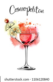 Cosmopolitan.Watercolor illustration of cocktail. Hand drawn sketch