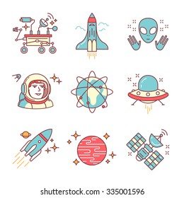 Cosmos exploration sings set. Planets, rockets, lander, satellites and astronaut in helmet. Oh, forgot about alien and his ship. Thin line art icons. Flat style illustrations isolated on white.