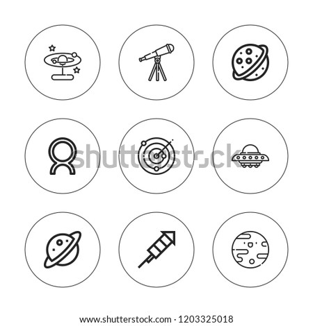 Cosmos Icon Set Collection 9 Outline Stock Vector Royalty Free