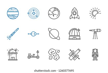 cosmos icons set. Collection of cosmos with astronaut, hubble space telescope, asteroids, moon rover, observatory, telescope, uranus, solar system. Editable and scalable cosmos icons.