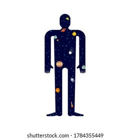 Cosmos inside man. Stars in body. Inner world concept Microcosm