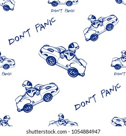 Cosmos patches seamless pattern design with electric space car, don't panic inscription in doodle style. Cute kids print with flying cosmic cars black blue on white  background.