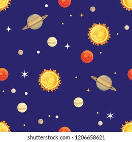 Cosmos seamless pattern. Vector illustration of a Soulomb, stars and planets in a simple cartoon flat style.