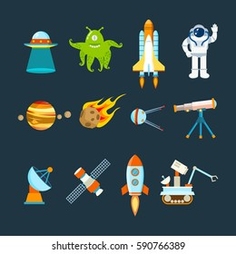 Cosmos set concept. Set on a space theme, including a transport, planets and related objects, satellites, instruments for tracking the cosmos. Vector illustration isolated on white background.