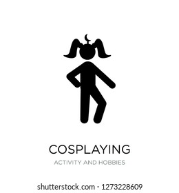 cosplaying icon vector on white background, cosplaying trendy filled icons from Activity and hobbies collection, cosplaying simple element illustration