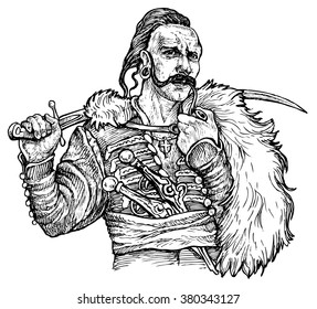 Cossack with a saber - hand drawn vector illustration, isolated on white