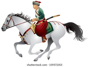 Cossack from Zaporizhian Sich on the white horse with the sabre and pistol, East Slavic warrior,  character from the Ukrainian, Russian and Poland history, cavalier vector illustration
