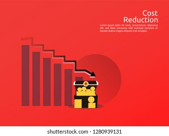 Cost arrow decrease icon. Money arrow symbol. economy stretching rising drop fall down. Business lost crisis decrease. lower cost, reduction bankrupt icon. vector illustration.