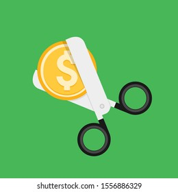 Cost cut vector icon. Price cheaper reduce flat icon, reduction rate discount.